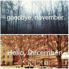 Goodbye November, Hello December card with grey nature photo and Christmas lights in a city. Hello December Pictures, November Images, December Quotes, Hello November, October, Days And Months, Months In A Year, 12 Months, 1 Year