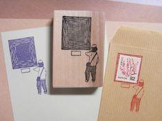 切手枠はんこ 美術館のおじさんの画像1枚目