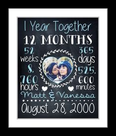 Anniversary Gift For Boyfriend Girlfriend, Chalkboard Art Print 1st 1 One 10 Year Anniversary Personalized Gifts Paper Time Together Present by Printsinspired on Etsy https://www.etsy.com/listing/245988480/anniversary-gift-for-boyfriend #anniversarygifts