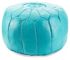 Moroccan Pouf, Turquoise | Easy Updates | One Kings Lane