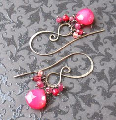 Raspberry Chalcedony Ruby Pink Tourmaline and Cherry Quartz Earrings at Isabella