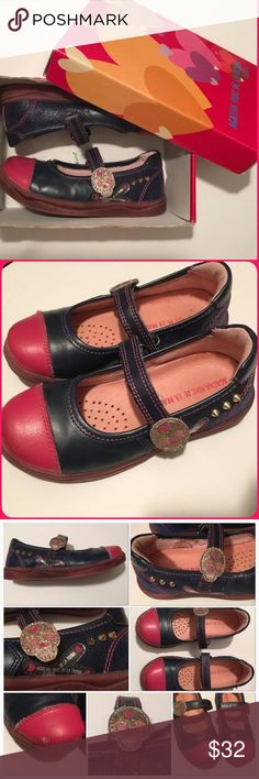 AGATHA RUIZ DE LA PRADA • Mary Jane shoe*AMAZING* SIZE  10.5 ( S29 EU)• with box This shoe is the most unique shoe ever!! Leather mary jane with velcro hook & loop closure. Navy & Dark pink with side silver rivets ( pointy!) & sugar skull at closure of velcro. Simply so unique!! Some scuffed up spots as you can see in pics. I used to freak out with each little scuff but you don't have to!! Your little one can wear them to be stylin & to play! Reasonable offers considered! Agatha Ruiz De La…