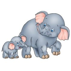 Cute Baby and Momma Elephant Clip Art | Mother And Baby Elephant's