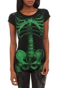 Kreepsville Green Skeleton Tunic Top. Awesome shirt.