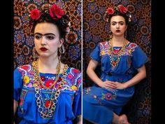 Frida Kahlo Halloween Hair & Make-up Tutorial - YouTube