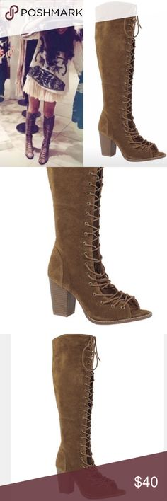 NIB Lace Up Vegan Suade Peep Toe Boots Brand new in the box. Bought and don't fit me. Vegan suade pace up peep toed boots. They have a zipper on the inside so you don't have to Lace them up every time you wear them. Beautiful. Shoes Lace Up Boots