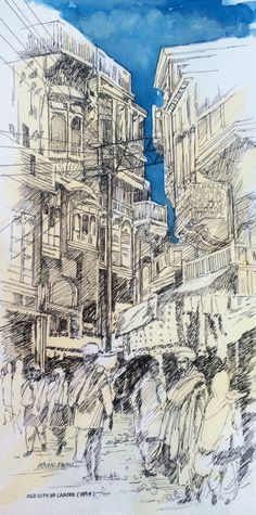 Old city area Lahore Pakistan ( 1894 )  Pen&Ink Illustration  For Buying ...  Email:mirkha12@yahoo.com