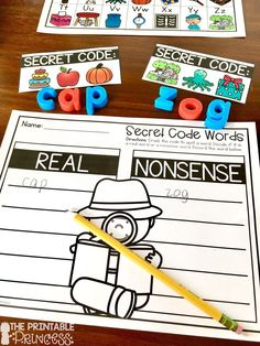 Kindergarten Detective / Secret Code Theme Centers for Math and Literacy Activities - Use this 47 page resource with your Kindergarten classroom or homeschool students. You get secret code real / nonsense words, secret phrases, word families, secret code addition, secret code subtraction, and shapes.  The added no prep practice pages are great for literacy centers, math stations, activities, extra practice, review, and much more! Great for remediation, homework, or as an additional center.