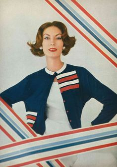 https://flic.kr/p/9Ea5bc | Mary McLaughlin, May Vogue 1957 | Wearing a sweater of navy-blue cashmere with red and white grosgrain ribbons by Vera Stewart.