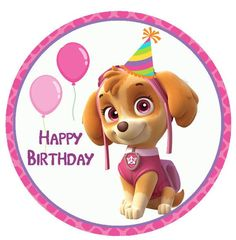 Paw Patrol Skye Puppy Dog Birthday Girl Personalized Custom Name Age Shirt T Tee Girl Paw Patrol Party, Sky Paw Patrol, Paw Patrol Cake, Paw Patrol Birthday, Teddy Bear Birthday, Dog Birthday, Imprimibles Paw Patrol, Paw Patrol Stickers, Happy Birthday Images