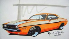 1970 dodge challenger Cartoon Car Drawing, Car Drawings, Challenger Rt, Car Illustration, Sketch Design, Automotive Design, Mopar, Chevy, Pencil Sketching