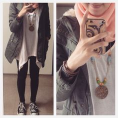 Ootd. casual Urban hijab outfit : asymetrical tsirt, jeans, parka, converse, statement necklace, peach #fien  Syaifiena W lookbook.nu/syaifiena