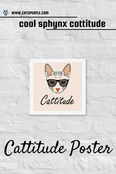 """Make a statement in any room with this framed poster. Designed especially for sphynx cat lovers and owners, with a """"cattitude"""" print to suit all spunky cat ladies. Decorate your space with this fun poster and flaunt your love for sphynx cats. Printed on thick, durable, matte paper, the unique design is purrfect for every cat owner with a cattitude. #catloverposter #catmomposter #sphynxcatposter #catmomgift #sphynxcatgift #catladygift #catmomdecor Cat Lover Gifts, Cat Lovers, Sphynx Cat, Cat Lady, Suit, Mom, Space, Printed, Cats"""