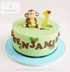Cute lettering   Cheeky monkey birthday cake