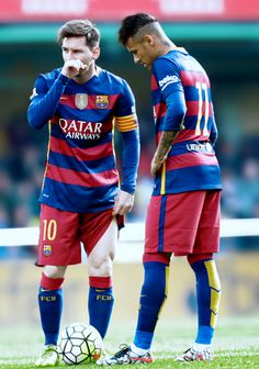Lionel Messi and Neymar speak during the match between Villarreal and Barcelona at the Madrigal stadium, Sunday, March 20, 2016 Photo credit barcelonaesmuchomas.tumblr.com
