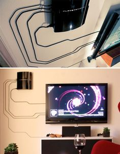 Clever cord organization solutions to manage clutter Gaming Room Setup, Computer Setup, Computer Case, Tv Wall Design, Game Room Design, Deco Gamer, Clutter Organization, Home Fix, Game Room Decor