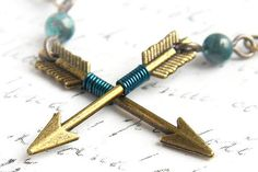 Teal Arrow Earrings. Join Hunger Games Fashion Craze. Blue Green Azurite Chrysocolla Stone Bead. Archery Hunt Wilderness Minimal Geometry