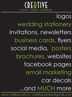 www.cre8tive.net.nz  For all your marketing and design needs Wedding Logos, Wedding Stationery, Marketing Logo, Can Design, Business Branding, Party Printables, Event Design, Social Media, Invitations