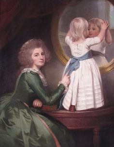 Portrait of Anne Barbara Russell née Whitworth with her son Sir Henry Russell by George Romney 1780's.