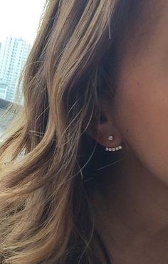 14k diamond bar earring spike ear jacket earring - pave stones sterling 14 k yellow-gold and diamond GLAM ear cuff / ear jacket classic