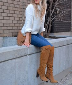 Oversized Knit Turtleneck & Over the Knee Boots