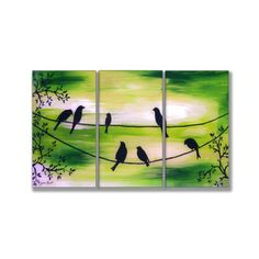 Birds On Wires Green Triptych Art (17 x 33) | Overstock.com