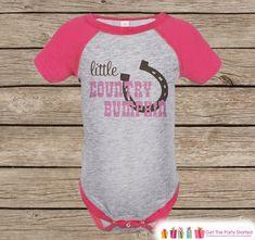 Novelty Girl's Outfit - Cowgirl Little Country Bumpkin Pink Raglan Shirt - Pink Baby Girls Onepiece or Tshirt - Novelty Raglan Tee - Western