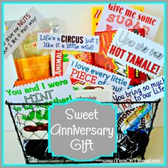Clever Candy Basket- Here's a sweet and inexpensive anniversary gift idea. Put his favorite candies in a basket and attach a creative note to each. #inexpensiveanniversarygifts