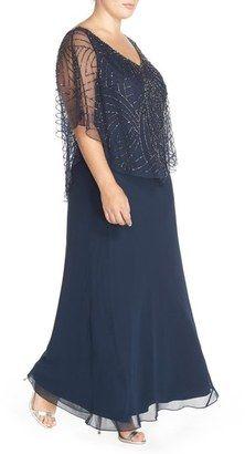 194dd4d0541 ShopStyle  J Kara Embellished Cape Overlay V-Neck Gown (Plus Size ...