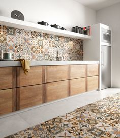 patchwork colors cementine effect porcelain tiles cementine colors effect fliesenspiegel patchwork porcelain tiles Home Decor Kitchen, Kitchen Design Small, Kitchen Flooring, Kitchen Models, Patchwork Tiles, Kitchen Decor, Kitchen Tiles Design, Rustic Kitchen, Kitchen Design