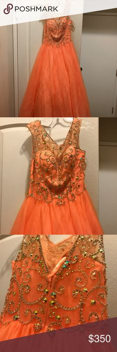 Princess dress You can make it short or leave it long for prom/homecoming or sweet 16 dress!🌿🍁🌻🍂 color is 🍑 peach & wore once! Dresses Prom
