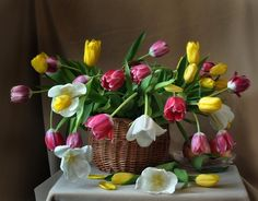 Spring is here - flowers, spring, petals, basket, pink, colors, tulips, beauty, vase, yellow, fruit, still life, white, apple