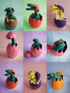 Hatching Dinos papier mache lesson. So cute! maybe do with 2nd and use clay and egg cartons..