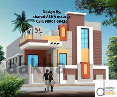 House Outer Design, Small House Design, Modern House Design, 3 Storey House Design, Bungalow House Design, Porch Elevation, 30x40 House Plans, Asian House, Pooja Mandir