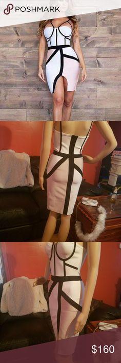 Bandage dress, white nude and black V-neck sleeveless all over bandage construction, body sculpting desing, cut out detail, colorblock desing, asymmetrical hem, spaghetti straps. MODAYABRI Dresses