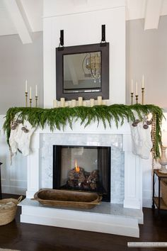 We mixed things up this year and went with a neutral look for Christmas! I call this our cozy neutral snowflake Christmas tree and I hope you like it! Christmas Greenery, Christmas Decorations, Holiday Decor, Christmas Tree, Seasonal Decor, Fall Living Room, Living Room Decor, Christmas Fireplace Mantels, Brick Fireplace