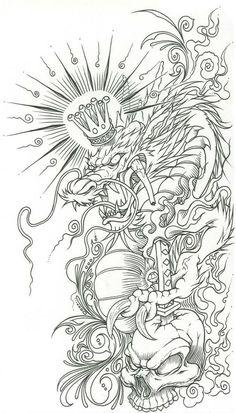 Dragon Tattoo Outline, Dragon Tattoo Designs, Tattoo Sleeve Designs, Japanese Tattoo Designs, Japanese Tattoo Art, Japanese Sleeve Tattoos, Tattoo Flash Art, Tatoo Art, Tattoo Design Drawings