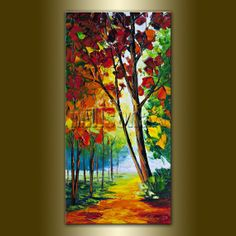 Seasons Tree Landscape Painting Oil on Canvas Textured Palette Knife Contemporary Abstract Modern Original Art  15X30 by Willson Lau