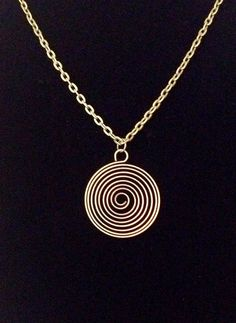 Antiqued bronze spiral wired pendant necklace on Etsy, $13.00