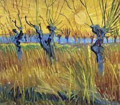 Art of the Day: Van Gogh, Pollard Willows at Sunset, Autumn 1888. Oil on cardboard, 31.5 x 34.5 cm. Kröller-Müller Museum, Otterlo.