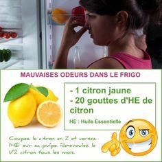 Voici une astuce toute simple pour enlever de manière durable les mauvaises odeurs dans votre frigo avec l'huile essentielle de citron : Bien sûr, vous n'utiliserez pas l'huile essentielle de citron juste pour cela. Découvrez mes autres recettes avec l'essence de citron.
