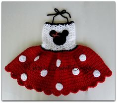 READY TO SHIP - Minnie Mouse Polka Dots Crocheted Dress Size 12-24 months. $30.00 USD, via Etsy.