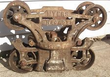 Vintage Antique Myers Hay Trolley Carrier Unloader Farm Barn Pulley, Orig Paint