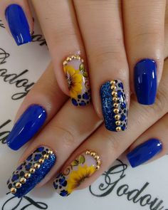 Blue Nail Art Ideas for 2018 – Top 150 Designs Hot Nails, Hair And Nails, Gorgeous Nails, Pretty Nails, Cute Acrylic Nails, Flower Nails, Nail Art Galleries, Blue Nails, Nail Arts