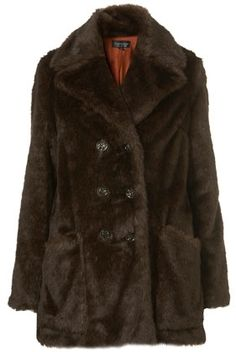 Brown Faux Fur Double Breasted Coat - StyleSays