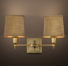RH's Claridge Double Sconce With Metal Shade:Elegant hotels and other well-dressed venues illuminate their spaces with lighting based on traditional lamps. Our sconce reflects this sensibility, with all-brass construction and thoroughly classic design.
