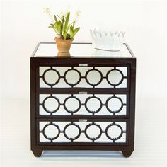 Ava Chocolate Lacquer 3-Drawer Nightstand by Worlds Away AVA NCH $1,245