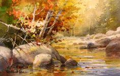 Quiet Creek - Vermont , Original watercolor of Vermont Creek in Fall - Watercolor Paintings by Roland Lee