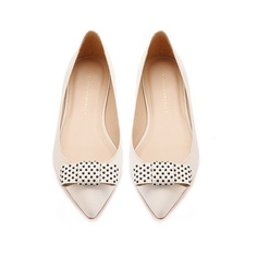 Loeffler Randall Stella bow flat White leather with black studs ($295) ❤ liked on Polyvore