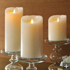Luminara are candles for any and every where. These amazing flameless candles can add a touch of real candle elegance without any worry. Led Candle Lights, Battery Candles, Pillar Candles, Tea Lights, Battery Lights, Luminara Flameless Candles, Bougie Led, Candles In Fireplace, Crackle Glass